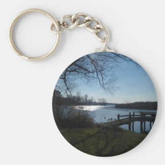 River Scene Basic Round Button Key Ring