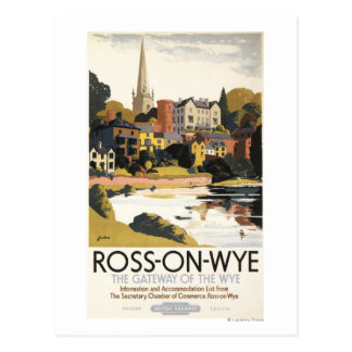River Scene of Town British Railways Poster Postcard