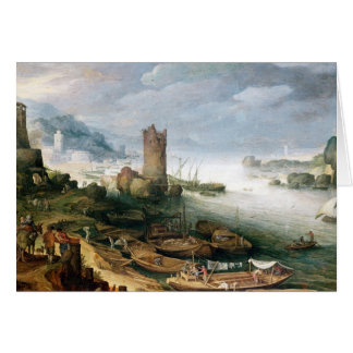 River Scene with a Ruined Tower Card