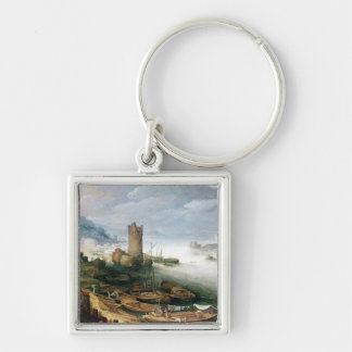 River Scene with a Ruined Tower Keychain