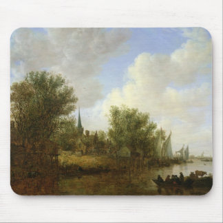 River scene with a View of Overschie, 1651 Mouse Pad