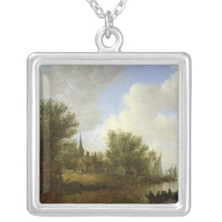River scene with a View of Overschie, 1651 Silver Plated Necklace