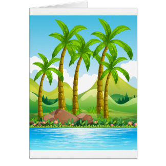River scene with coconut trees greeting card