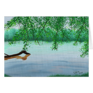 River scene with fallen log greeting card