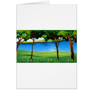 River scene with field and trees greeting card