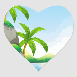 River scene with field and trees heart sticker