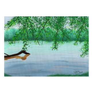 River Scene with Log Artist Trading Card Pack Of Chubby Business Cards