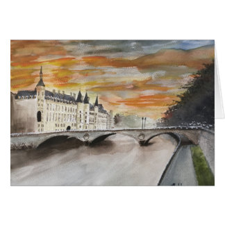 RIVER SEINE,,  PARIS, WATERCOLOR CARD