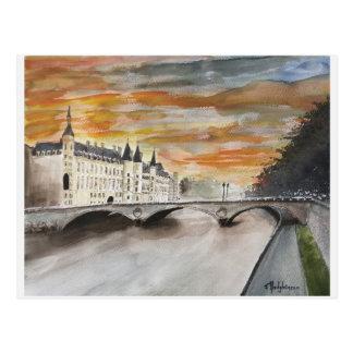 RIVER SEINE,,  PARIS, WATERCOLOR, POSTCARD