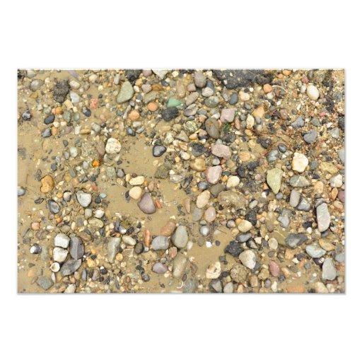 river shore texture sand stones shells beach photographic print