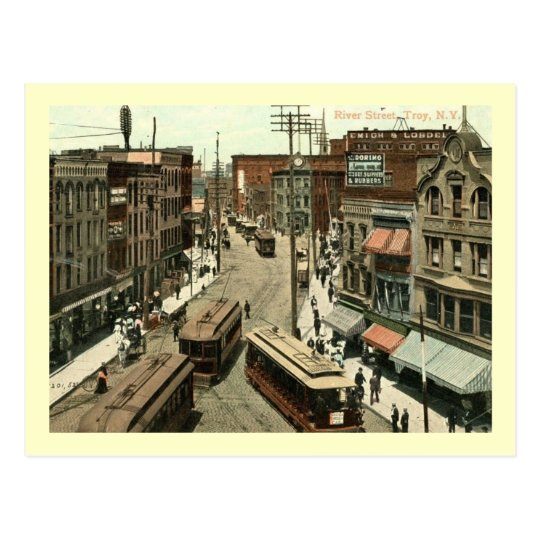 River St., Troy, New York Vintage Postcard