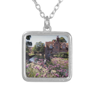River Stour, Canterbury, Kent, UK Square Pendant Necklace
