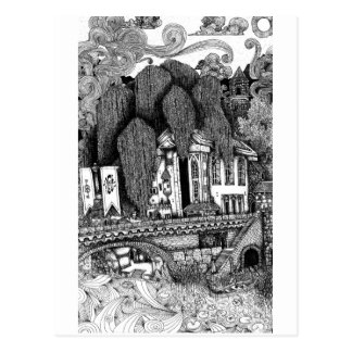 River Temple pen and ink illustration postcard
