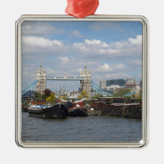 River Thames and Tower Bridge in London, UK Silver-Colored Square Decoration