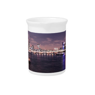 River Thames at Night Beverage Pitchers