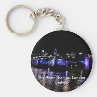 River Thames at Night, London England Basic Round Button Key Ring