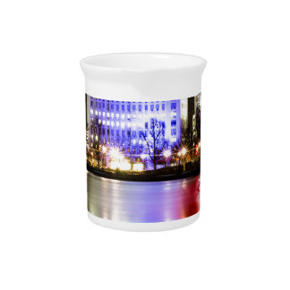 River Thames in Colour at night Beverage Pitchers