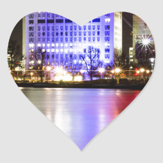 River Thames in Colour at night Heart Sticker