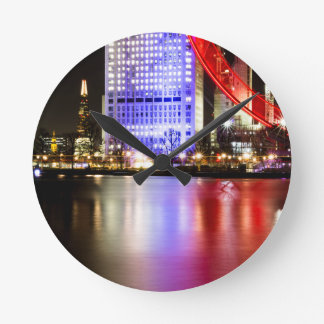 River Thames in Colour at night Round Clock