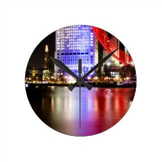 River Thames in Colour at night Wallclocks