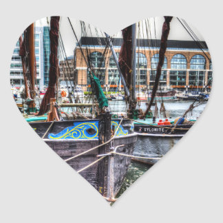 River Thames Sailing Barges. Heart Sticker