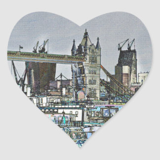 River Thames Sketch Heart Stickers