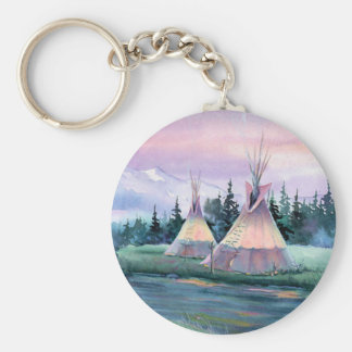 RIVER TIPI CAMP by SHARON SHARPE Basic Round Button Key Ring
