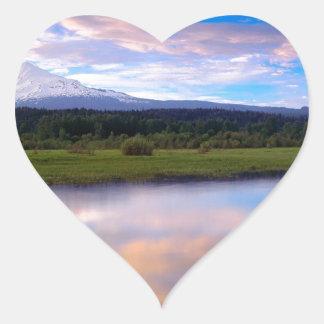 River Trout Lake Mount Adams Heart Stickers