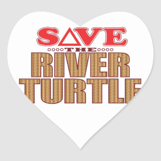 River Turtle Save Heart Sticker