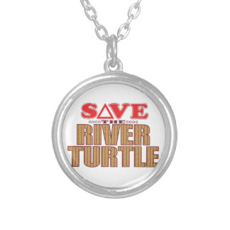 River Turtle Save Silver Plated Necklace