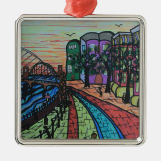 River Tyne Newcastle Quayside Silver-Colored Square Decoration