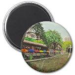 River Walk San Antonio, TX Painting 6 Cm Round Magnet