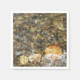 River-Worn Pebbles Brown and Grey Natural Abstract Paper Napkin