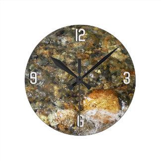 River-Worn Pebbles Brown and Grey Natural Abstract Wallclock