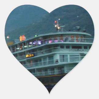 River YANGTZE - China  Vintage BOAT CRUISE Heart Sticker