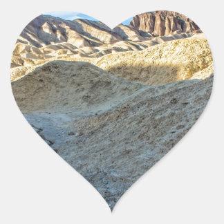 Riverbed view of Zabriskie Point Landscape Format Heart Sticker