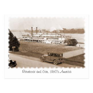 Riverboat and Car, 1930's America Postcard