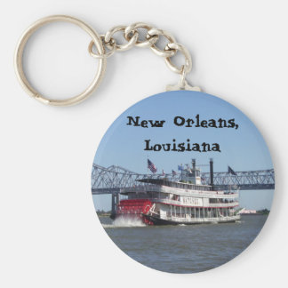 Riverboat in New Orleans Basic Round Button Key Ring
