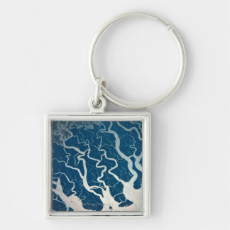 Rivers and Tributaries Silver-Colored Square Key Ring