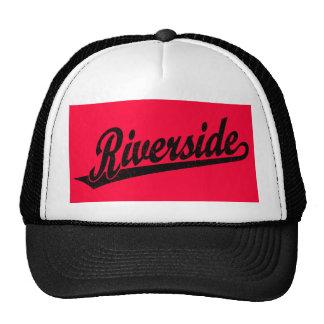 Riverside script logo in black distressed cap
