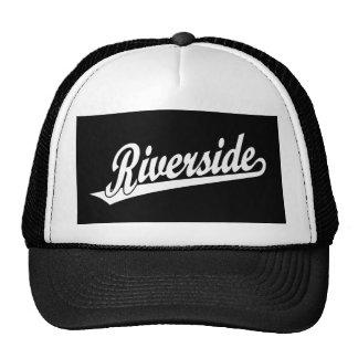 Riverside script logo in white mesh hat
