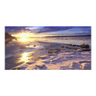 Riverside With Snow on Rocks Photo Card Template