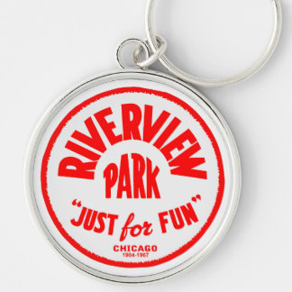 Riverview Amusement Park, Chicago, Illinois Silver-Colored Round Key Ring