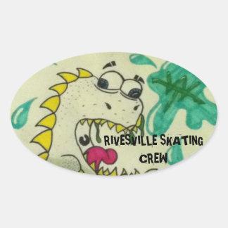 Rivesvills Skating Crew Oval Stickers