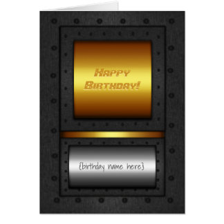 Riveted steel-framed gold and chrome birthday card