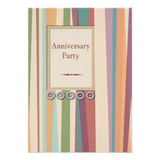 Rivets Stripes Anniversary Party Personalized Announcement