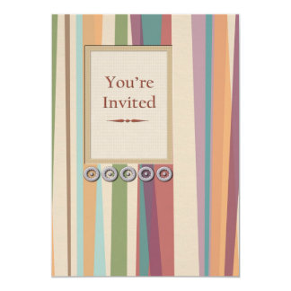Rivets, Stripes & Inlay Panel You're Invited Cards