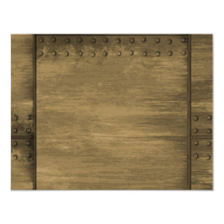 rivetted grungy gold metal plate 11 cm x 14 cm invitation card