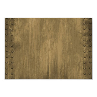 """rivetted grungy gold metal plate 3.5"""" x 5"""" invitation card"""