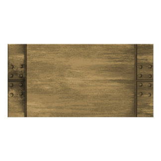 rivetted grungy gold metal plate photo card